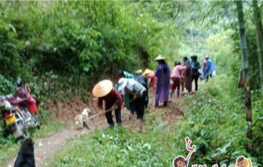 新民村组织干部群众抢修连接路
