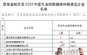 景东彝族自治县企业稳定岗位补贴公示